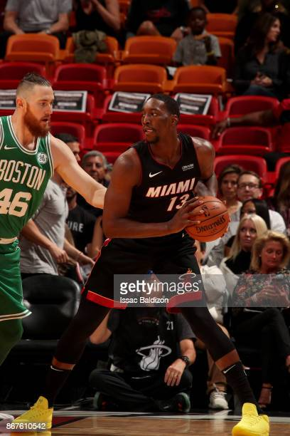 Bam Adebayo of the Miami Heat handles the ball during the game against the Boston Celtics at the American Airlines Arena on October 28 2017 in Miami...