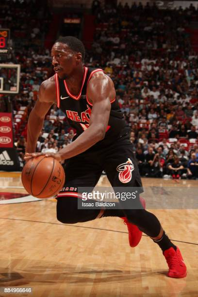 Bam Adebayo of the Miami Heat handles the ball during the game against the Golden State Warriors on December 3 2017 in Miami Florida NOTE TO USER...