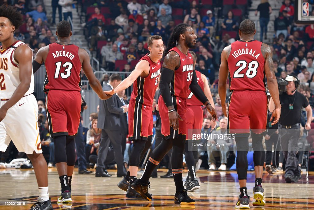 Bam Adebayo Of The Miami Heat High Fives Duncan Robinson Of The Miami News Photo Getty Images