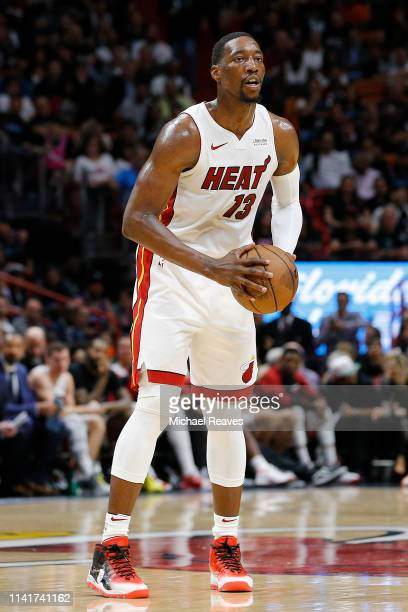 Bam Adebayo of the Miami Heat in action against the Philadelphia 76ers during the second half at American Airlines Arena on April 09 2019 in Miami...