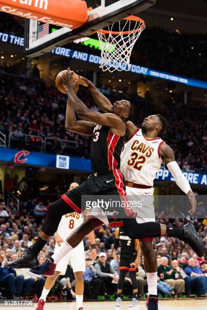 Bam Adebayo of the Miami Heat is blocked by Jeff Green of the Cleveland Cavaliers during the first half at Quicken Loans Arena on January 31 2018 in...