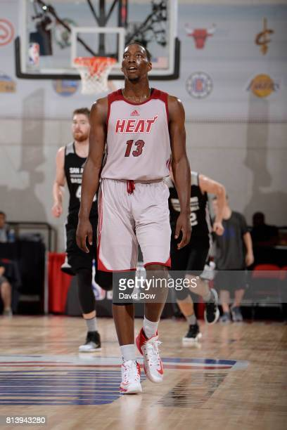 Bam Adebayo of the Miami Heat looks down court against the San Antonio Spurs during the 2017 Las Vegas Summer League on July 8 2017 at the Cox...