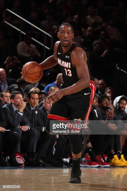 Bam Adebayo of the Miami Heat moves up the court during the game against the New York Knicks on April 6 2018 at Madison Square Garden in New York...