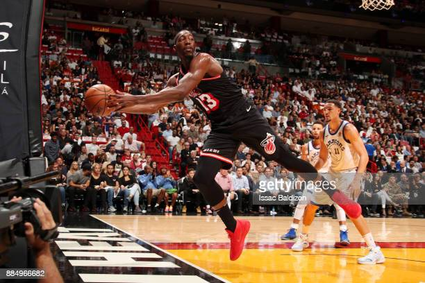 Bam Adebayo of the Miami Heat passes the ball during the game against the Golden State Warriors on December 3 2017 in Miami Florida NOTE TO USER User...