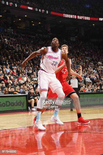 Bam Adebayo of the Miami Heat plays defense against Jakob Poeltl of the Toronto Raptors on February 13 2018 at the Air Canada Centre in Toronto...