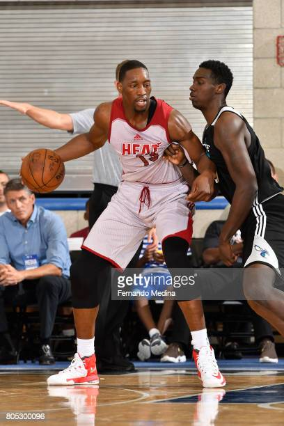 Bam Adebayo of the Miami Heat posts up against the Charlotte Hornets during the 2017 Summer League on July 1 2017 at Amway Center in Orlando Florida...