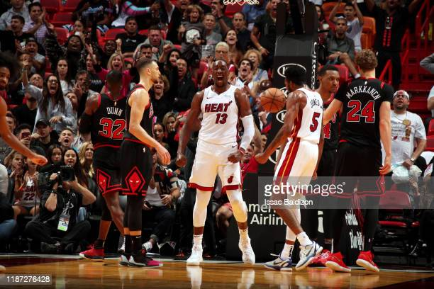 Bam Adebayo of the Miami Heat reacts after a play during a game against the Chicago Bulls on December 8 2019 at American Airlines Arena in Miami...