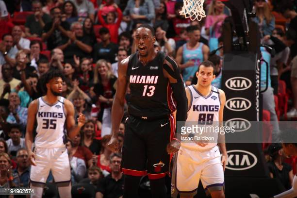 Bam Adebayo of the Miami Heat reacts to play against the Sacramento Kings on January 20 2020 at American Airlines Arena in Miami Florida NOTE TO USER...