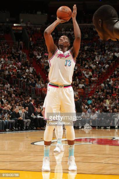 Bam Adebayo of the Miami Heat shoots a free throw during the game against the Milwaukee Bucks on February 9 2018 at American Airlines Arena in Miami...