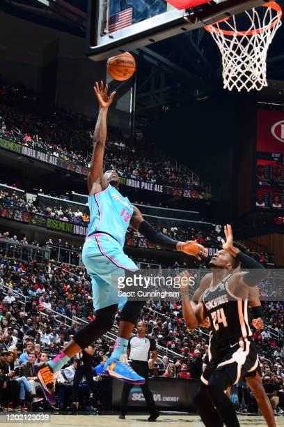 Bam Adebayo of the Miami Heat shoots the ball against the Atlanta Hawks on February 20, 2020 at State Farm Arena in Atlanta, Georgia. NOTE TO USER:...