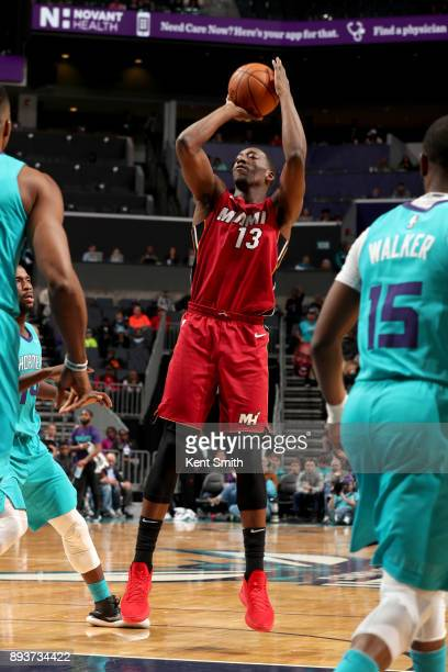 Bam Adebayo of the Miami Heat shoots the ball against the Charlotte Hornets on December 15 2017 at Spectrum Center in Charlotte North Carolina NOTE...