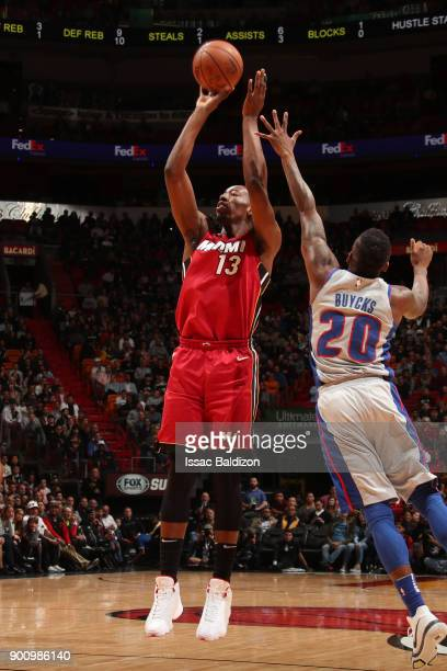 Bam Adebayo of the Miami Heat shoots the ball against the Detroit Pistons on January 3 2018 at American Airlines Arena in Miami Florida NOTE TO USER...