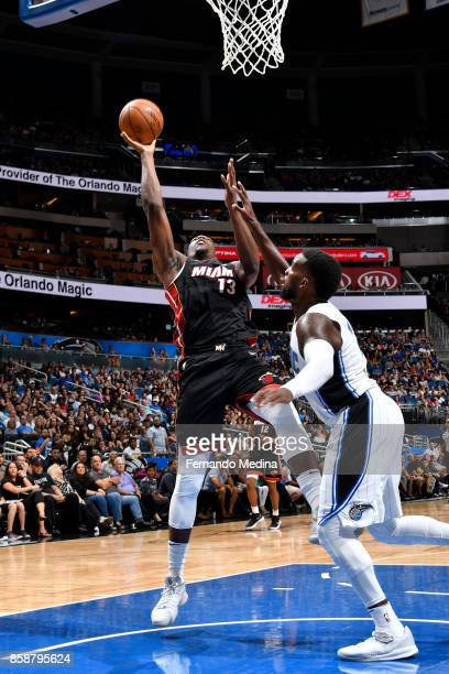 Bam Adebayo of the Miami Heat shoots the ball against the Orlando Magic during a preseason game on October 8 2017 at Amway Center in Orlando Florida...