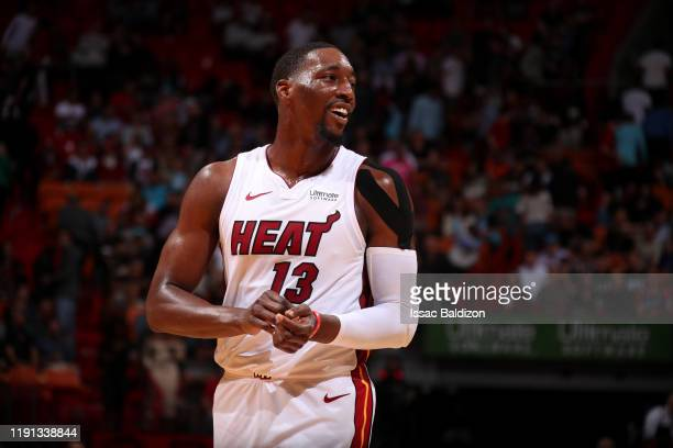 Bam Adebayo of the Miami Heat smiles during game against the Toronto Raptors on January 2 2020 at American Airlines Arena in Miami Florida NOTE TO...