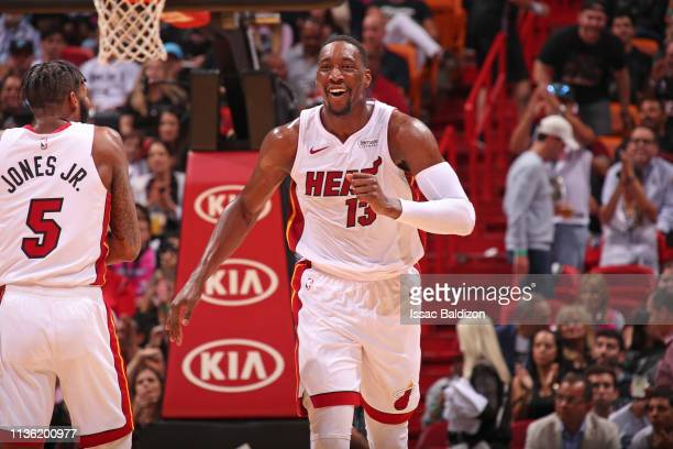 Bam Adebayo of the Miami Heat smiles during the game against the Philadelphia 76ers on April 9 2019 at American Airlines Arena in Miami Florida NOTE...