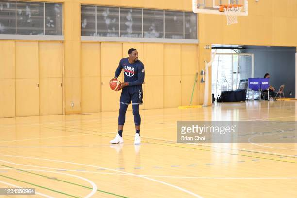 Bam Adebayo of the USA Men's National Team handles the ball during USAB Mens National Team practice on July 29, 2021 in Tokyo, Japan. NOTE TO USER:...