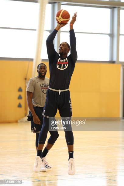 Bam Adebayo of the USA Men's National Team shoots the ball during USAB Mens National Team practice on July 29, 2021 in Tokyo, Japan. NOTE TO USER:...