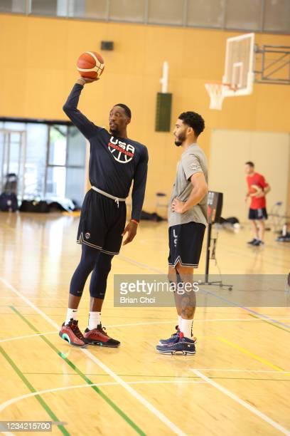 Bam Adebayo of the USA Men's National Team works with Jayson Tatum of the USA Men's National Team during the USA Basketball Men's National Team...
