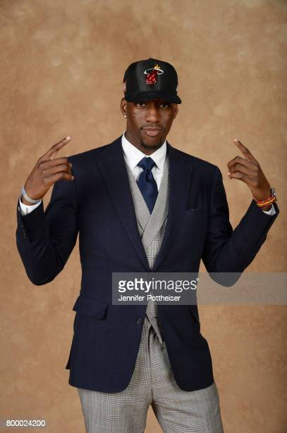 Bam Adebayo poses for a portrait after being drafted number fourteen overall to the Miami Heat during the 2017 NBA Draft on June 22 2017 at Barclays...