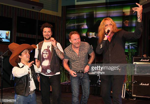 Bam Margera Danny Bonaduce and Sebastian Bach announce the winners of the Battle of the Room Trashing Bands on the Main Stage at Bally's Atlanic City...