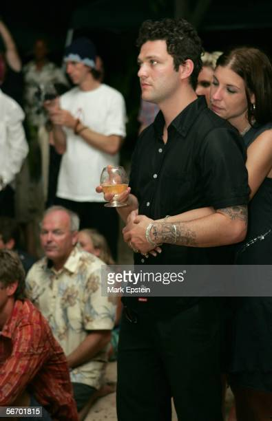 Bam Margera of 'Viva La Bam' and his girlfriend Missy look on as skateboarder Tony Hawk and Lhotse Merriam are married January 12 2006 on the Island...