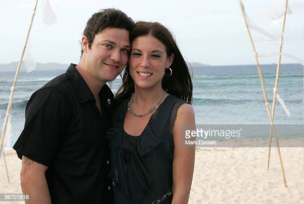 Bam Margera of 'Viva La Bam' and his girlfriend Missy pose for a photo at Tony Hawk and Lhotse Merriam's wedding ceremony January 12 2006 on the...