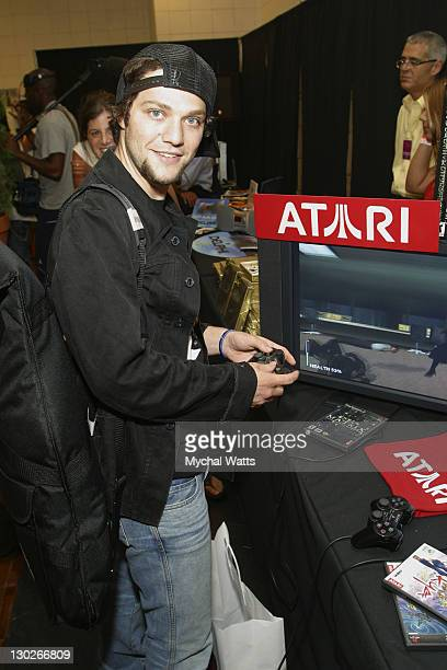 Bam Margera playing Atari's The Matrix on PS 2 during 2003 MTV Video Music Awards Backstage Creations Day 2 at Radio City Music Hall in New York City...