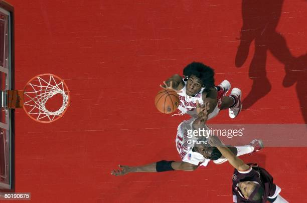 Bambale Osby and James Gist of the Maryland Terrapins reach for a rebound against the Virginia Tech Hokies at the Comcast Center on February 20 2008...
