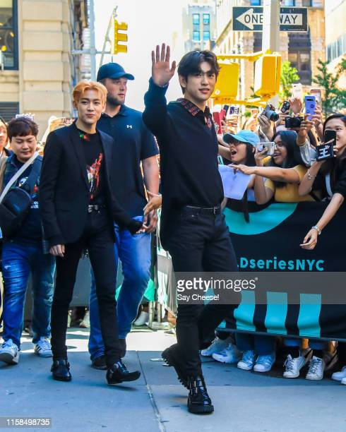 BamBam and Jinyoung from GOT7 are seen at AOL Build on June 26, 2019 in New York City.