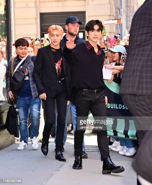 BamBam and Jinyoung of GOT7 are seen outside the Build Studio on June 26, 2019 in New York City.