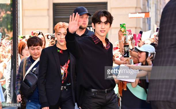 BamBam and Jung Jin-Young of GOT7 are seen outside the Build Studio on June 26, 2019 in New York City.