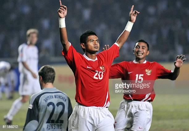 Bambang Pamungkas celebrates after scoring a goal against German league and Cup champions Bayern Munich during a friendly match between Bayern Munich...