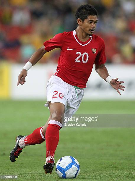 Bambang Pamungkas of Indonesia looks to take on the defence during the Asian Cup Group B qualifying match between the Australian Socceroos and...