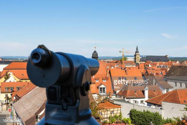 Bamberg old town roof tops with a telescope (Bavaria, Germany)