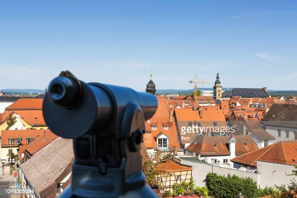 Bamberg old town rooftops with a telescope for the tourists (Bavaria, Germany)