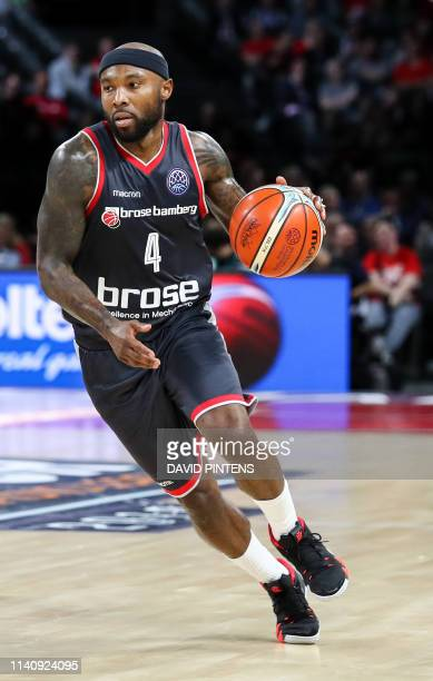 Bamberg's Tyrese Rice vies during a basketball match between German team Brose Bamberg and Italian Virtus Pallacanestro Bologna, the first leg of the...