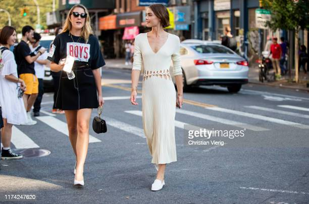 Bambi Northwood Blyth is seen wearing creme white dress outside Dion Lee during New York Fashion Week September 2019 on September 11, 2019 in New...
