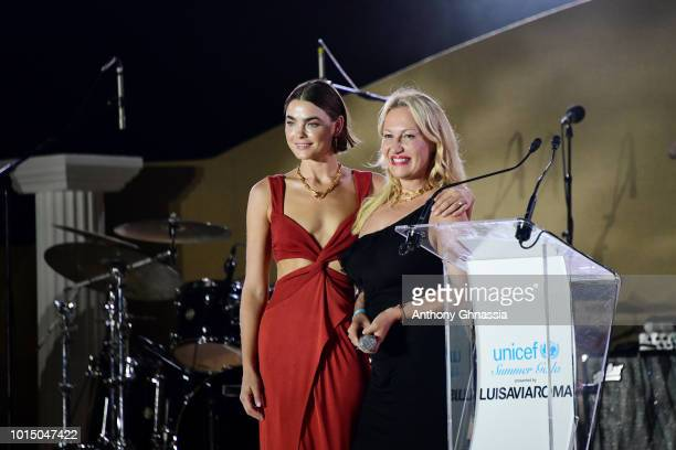 Bambi NorthwoodBlyth and a guest attend the Unicef Summer Gala Presented by Luisaviaroma dinner at Villa Violina on August 10 2018 in Porto Cervo...