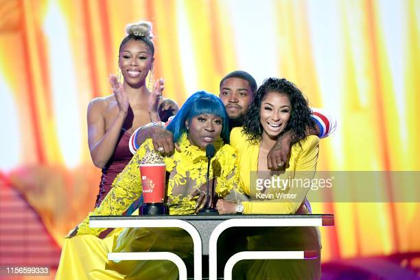 Bambi Spice Lil Scrappy and Karlie Redd accept the Best Reality Royalty award for Love Hip Hop Atlanta onstage during the 2019 MTV Movie and TV...