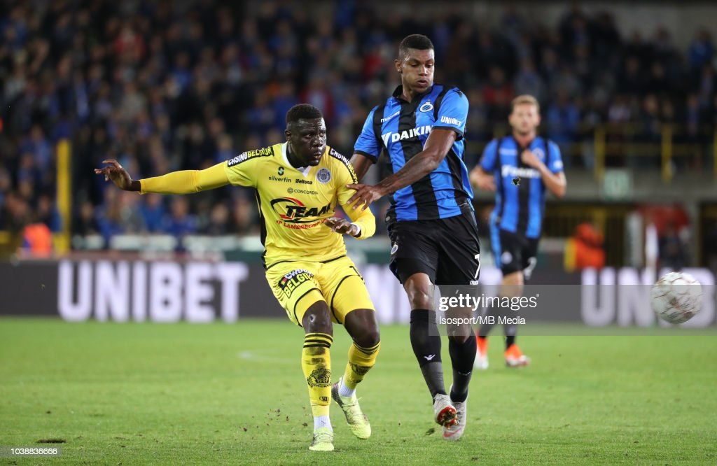 Bambo Diaby and Wesley Moraes fight for the ball during the Jupiler Pro League match between Club Brugge and KSC Lokeren OV at Jan Breydel Stadium on September 14, 2018 in Brugge, Belgium.