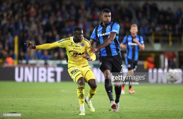 Bambo Diaby and Wesley Moraes fight for the ball during the Jupiler Pro League match between Club Brugge and KSC Lokeren OV at Jan Breydel Stadium on...