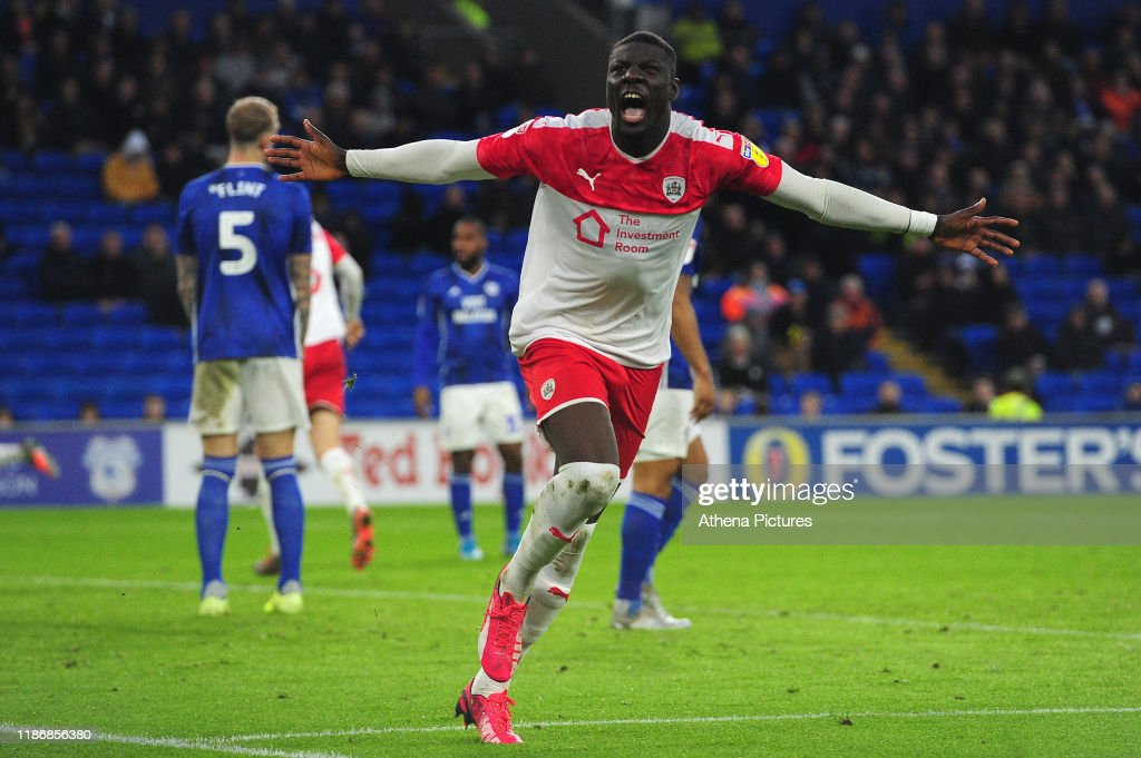 Bambo Diaby of Barnsley celebrates scoring his side's second goal... News  Photo - Getty Images