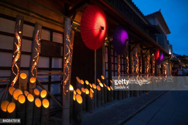 bamboo and paper umbrella candle lights in obon night event  in japan - kanto region stock pictures, royalty-free photos & images