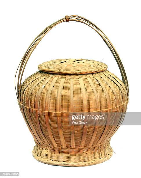 bamboo basket - bamboo instrument stock photos and pictures