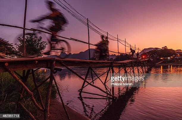 Bamboo bridge of Vang Vieng, Laos