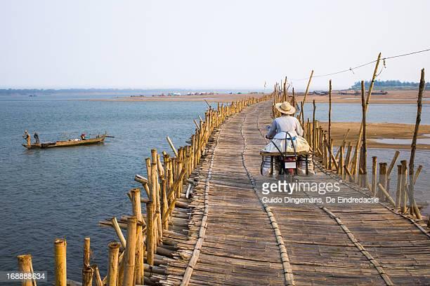 Bamboo bridge over Mekong River, Cambodia