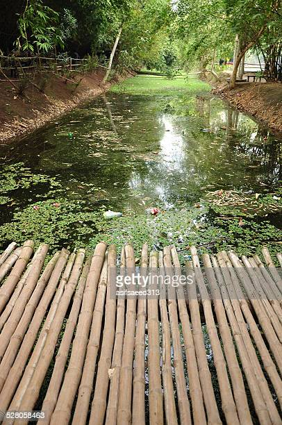 bamboo bridge - lahore canal stock photos and pictures