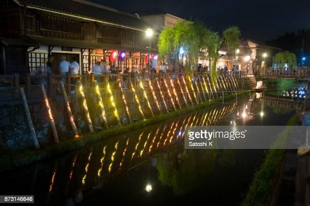 夏祭りの夜に竹キャンドル ライト