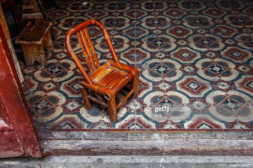 Bamboo Chair on the Floor : Stock Photo