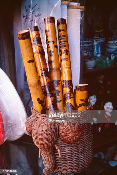 bamboo flutes hanoi, vietnam - bamboo flute stock-fotos und bilder
